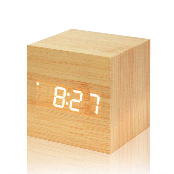 Cube LED Digital Wood Alarm Clock