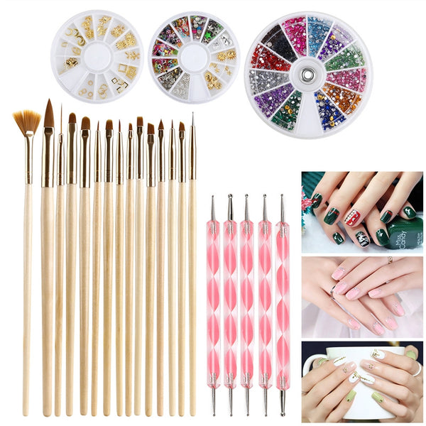 Nail Art Kit with Gold Wooden Nail Art Brush  Set