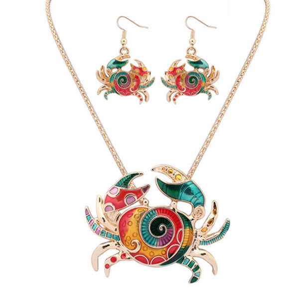 Cute Crab Pendant Set