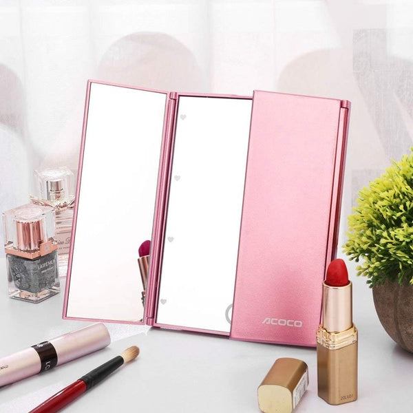 Tri-Fold Lighted Travel Makeup Mirror
