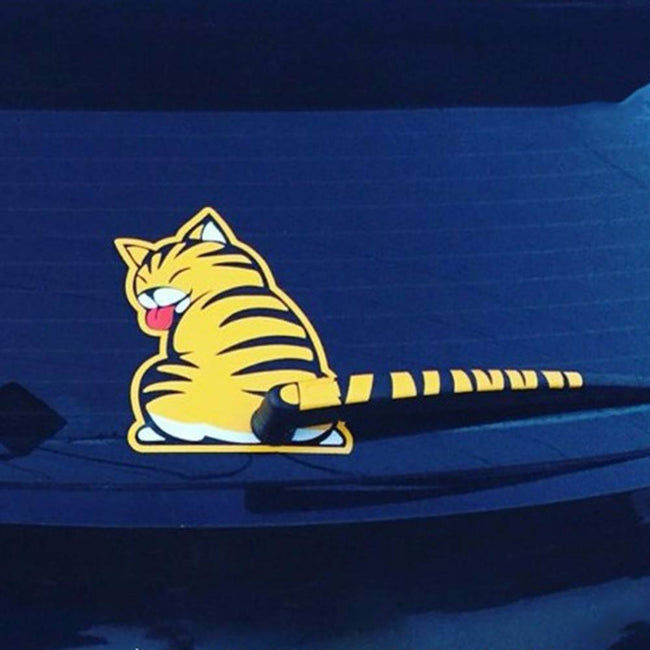 Moving Cat Tail Decal  Back Wiper Sticker - Gadget My Car