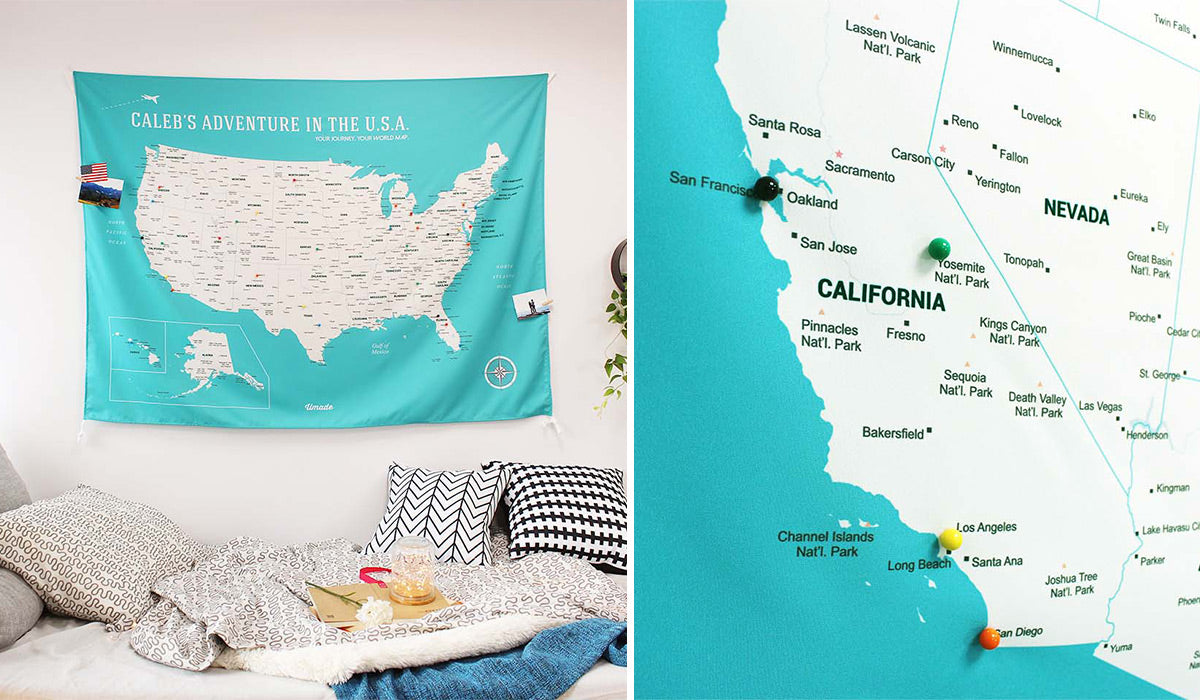 Customized US Map with 50 States, 470 Cities, 59 National Parks to pin your tracks in the USA.