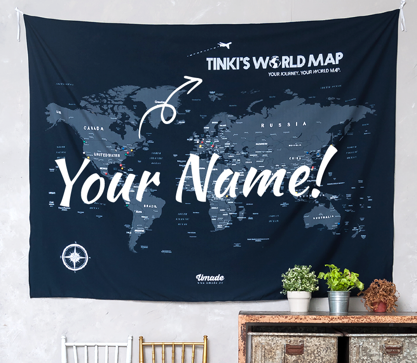 personalized world map pin map travel map navy blue wall decor