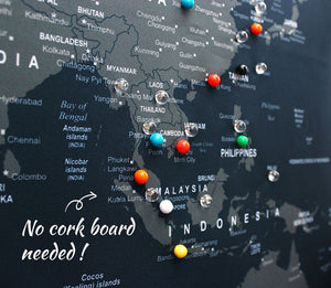Colorful UMade special pushpins with backing clips to track your travel destinations on the detailed UMap travel Map, no cork board needed.