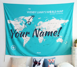 UMade; personalized UMap turquoise world map with your name/ favorite quote is unique gift idea and special decor for living room.