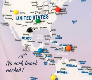 UMade, special color push pins with backing clips to track your travel destinations on UMap personalized world map. No need for cork board.