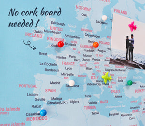 UMade; pin your travel destinations with special ball pins on UMap detailed political map of the world. No need for cork board.