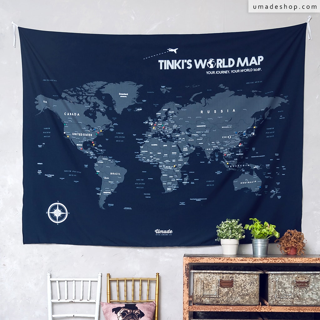 Your personalized world map tapestry navy blue umap your u mapworld map navy blue gumiabroncs Choice Image