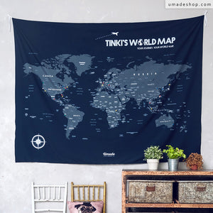 UMade, UMap, customizable dark blue travel map of the world is the perfect decor for living room/ bedroom and best personalized gift idea.