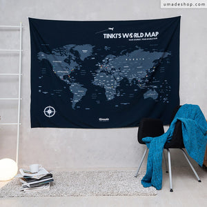 UMade, UMap, Navy Blue large personalized world map ( wall hanging) with all countries & many major cities for home/bedroom decoration.
