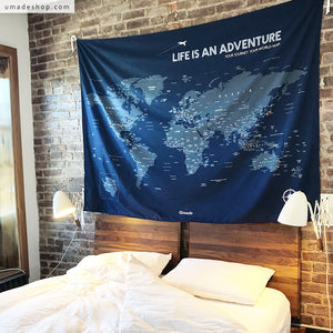 UMade, UMap, dark blue personalized world map with your motto decorates perfectly your bedroom wall and encourages your to keep going!