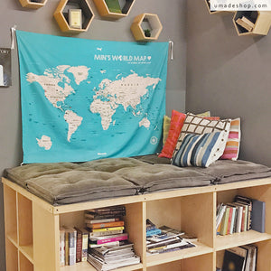 UMade; The world is a book, those who don't travel only read one page. Decorate a corner for yourself with UMap personalized world map and books!