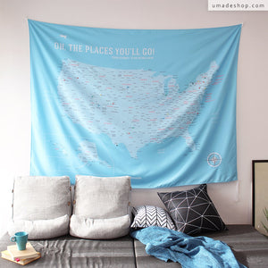 UMade, UMap, your personalized USA map, United States Map, Wall Art, USA travel map, Wall Art, USA Map for Kids, room decor map, blue, baby blue, custom travel map, custom map, gift for her, gift idea, room decor, dorm decor, tapestry map, scratch off map, pushpin map, 50 states