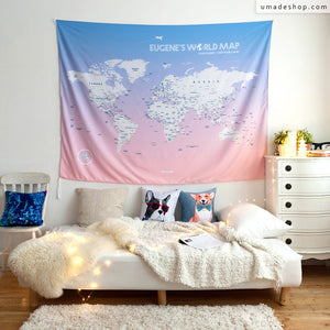 UMade, UMap, your personalized world map, customized, custom travel map, wall tapestry, wall decor, wall decoration, large size, pink, wall hanging, room decor, gift women, wanderlust gift, unique traveling gift