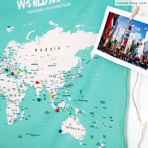 UMade; track your travel destinations on UMap world map with ball pins and decorate with travel photos is the best decoration in your room.