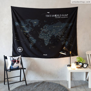 UMade; personalized black UMap world map is simply cool & stylish. Perfect wall art for living room/ studio/ office/ hostels