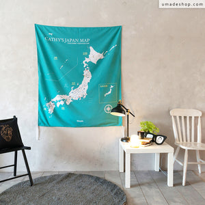 UMade, UMap, personalized Japan map, customized Japan map, custom map, travel map, green, emerald green, wall decor, country map, Japan decor, Japanese gifts, Japanese wall art, Japan wall hanging, room decor, decor inspiration, Japan trip