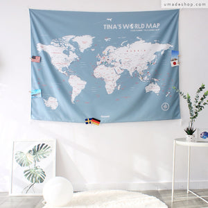 UMade; Bluish Gray UMap personalized world map matches perfectly to simple & Scandinavian decor style. Best wall art for living room/ bedroom.