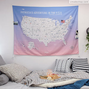 UMade, UMap, your personalized USA map, United States Map, Wall Art, USA travel map, Wall Art, USA Map for Kids, room decor map, rose quartz, pink, purple, custom travel map, custom map, gift for her, gift idea, room decor, dorm decor, tapestry map, scratch off map, pushpin map, 50 states, USA national park, America map, road trip map