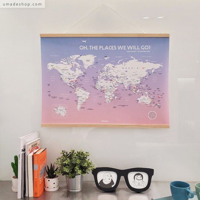 UMap | World Map Poster (With Wood Frame)- Rose Quartz & Serenity