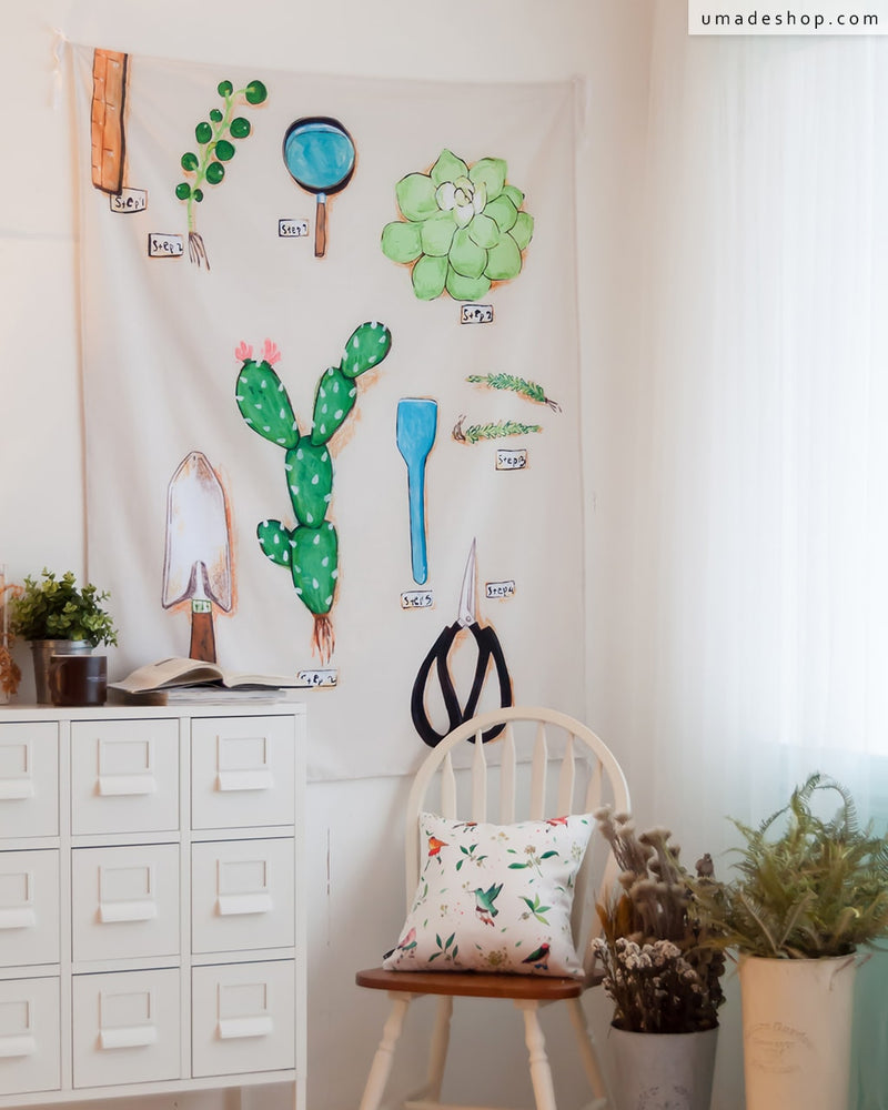 ★Wall Tapestry★ Sunday 02-Make your own balcony with meaty plants(B) - Pony Pei