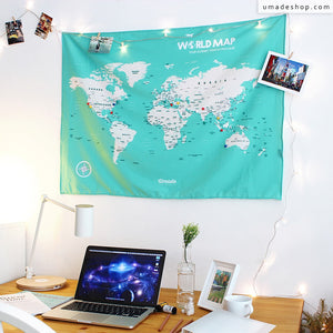 UMade; decorate your UMap world map with travel photos and string lights in study room/ office. Chic desk decoration!