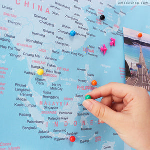 UMade; pin your travel destinations with special push pins on UMap political map of the world, detailed with countries & many major cities.