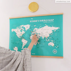 UMap l World Map Poster (With Wood Frame)- Lake Green