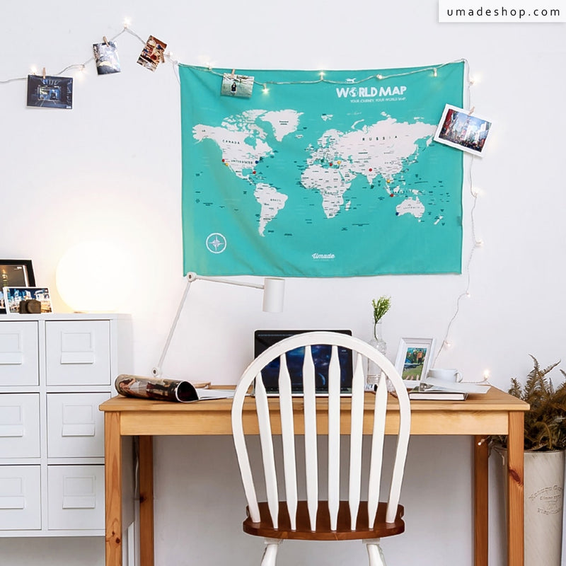 UMade- Umap, your personalized world map, travel map, wall tapestry, wall decor, wall decoration, small size, desk (Lake-green)