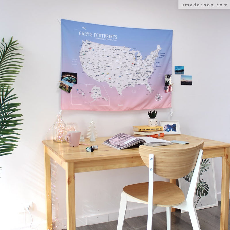 UMade, UMap, your personalized USA map, United States Map, Wall Art, USA travel map, Wall Art, USA Map for Kids, room decor map, rose quartz, pink, purple, custom travel map, custom map, gift for her, gift idea, room decor, dorm decor, tapestry map, scratch off map, pushpin map, 50 states, USA national park, America map, road trip map, room decoration idea, travel gift, US gift ideas