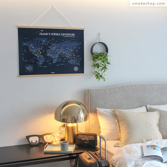 UMap | World Map Poster (With Wood Frame)- Navy Blue