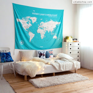 UMade; large UMap lake green (turquoise) world map hanging on the wall in the living room shows your style & travel plans. Cool home decor and cool personalized gift.