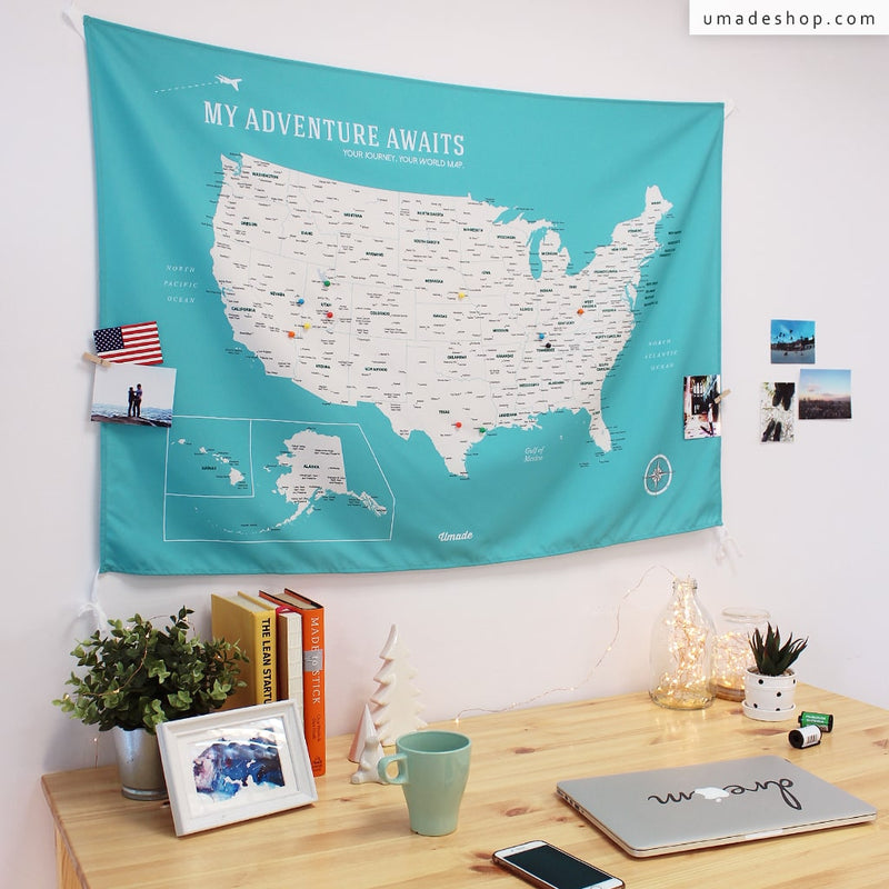UMade, UMap, your personalized USA map, United States Map, Wall Art, USA travel map, Wall Art, USA Map for Kids, room decor map, green, emerald green, custom travel map, custom map, gift for her, gift idea, room decor, dorm decor, tapestry map, scratch off map, pushpin map, 50 states, US national parks, road trip map