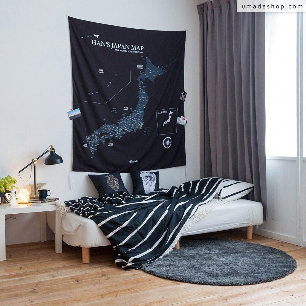 Your personalized japan map tapestry black and white umade japan map black and white gumiabroncs Image collections