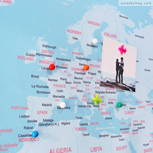 UMade; track your travel destinations with special color pushpins and decorate with travel photos on UMap travel Map, no cork board needed.