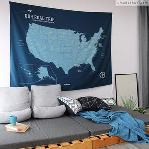 UMade, UMap, your personalized USA map, United States Map, Wall Art, USA travel map, Wall Art, USA Map for Kids, room decor map, blue,  custom travel map, custom map, gift for her, gift idea, room decor, dorm decor, tapestry map, scratch off map, pushpin map, 50 states, USA national park, America map, road trip map, wall decor, bedroom decor