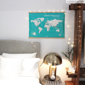 UMap | World Map Poster (With Wood Frame)- Lake Green