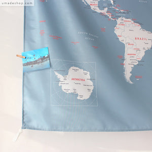 UMade, UMap, personalized world map, travel map, wall tapestry, wall decor, wall decoration, bluish gray, room decor