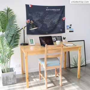UMade; space gray personalized map of the world matches perfectly to your desk decoration. An inspiring decor for study room/ baedroom/ dorm.