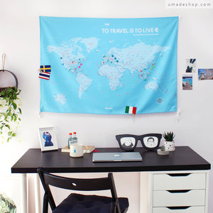 UMade; UMap personalized sky blue map of the world ( wall hanging) is perfect desk decor item that keeps you going and plans your next travel !