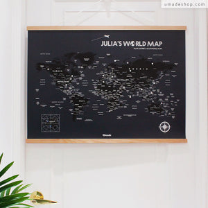 UMap l World Map Poster (With Wood Frame)- Midnight Black