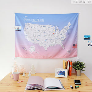 UMade, UMap, your personalized USA map, United States Map, Wall Art, USA travel map, Wall Art, USA Map for Kids, room decor map, rose quartz, pink purple, custom travel map, custom map, gift for her, gift idea, room decor, dorm decor, tapestry map, scratch off map, pushpin map, 50 states, fifty states, US national park, custom US map, roadtrip map, quote map