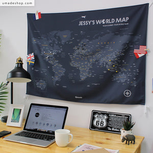 UMade, UMap, personalized world map, custom map, travel map, wall tapestry, wall decor, wall decoration, gray, friend gift, customized, grad gift
