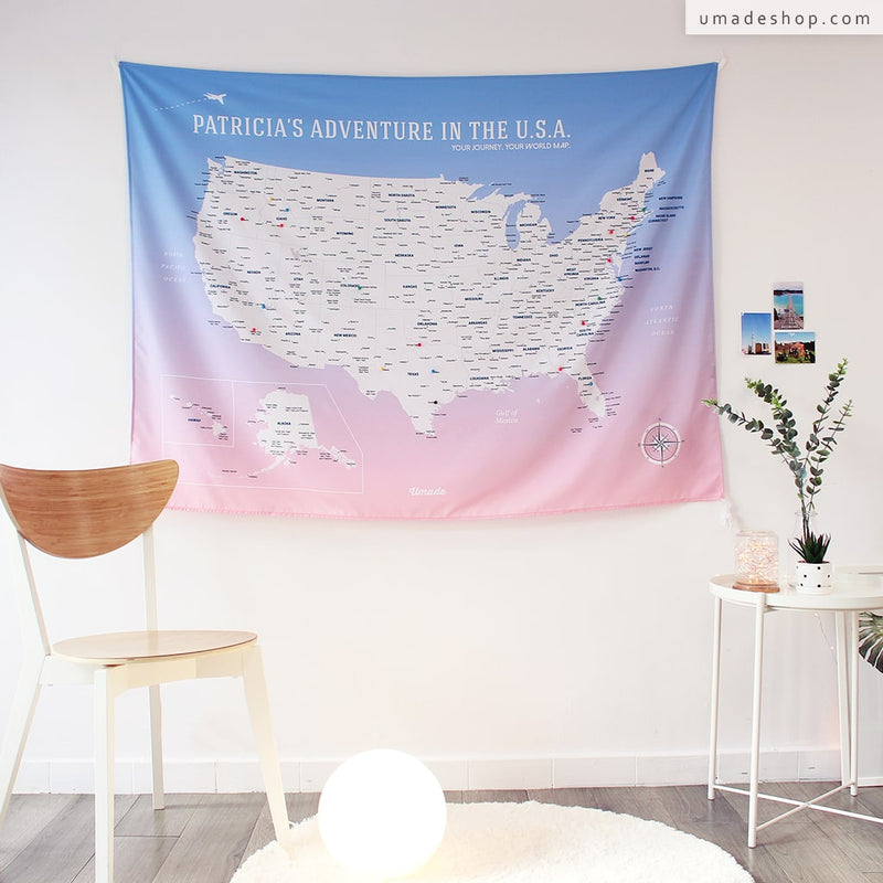 UMade, UMap, your personalized USA map, United States Map, Wall Art, USA travel map, Wall Art, USA Map for Kids, room decor map, rose quartz, pink purple, custom travel map, custom map, gift for her, gift idea, room decor, dorm decor, tapestry map, scratch off map, pushpin map, 50 states, fifty states, US national park