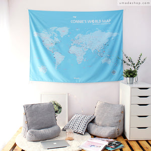 UMade; soft light blue baby blue personalized world map tapestry is perfect wall art idea for living room/ bedroom decoration.