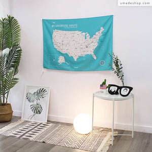 UMade, UMap, your personalized USA map, United States Map, Wall Art, USA travel map, Wall Art, USA Map for Kids, room decor map, green, emerald green, custom travel map, custom map, gift for her, gift idea, room decor, dorm decor, tapestry map, scratch off map, pushpin map, 50 states