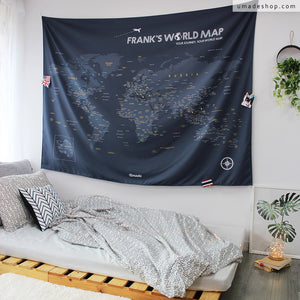 UMade; Large gray UMap personalized map of the world with your name or favorite quote is the best decoration in your room.
