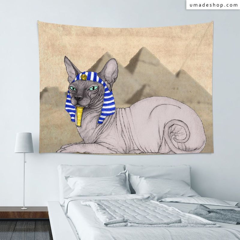 ★Wall Tapestry★ Sphynx Cat With Pyramids Of Gizah - Barruf