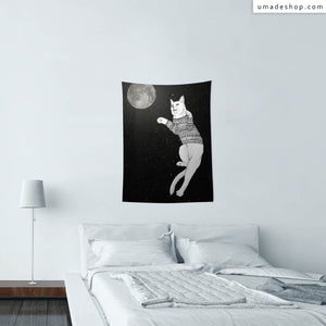 ★Wall Tapestry★ Cat Trying To Catch The Moon - Barruf