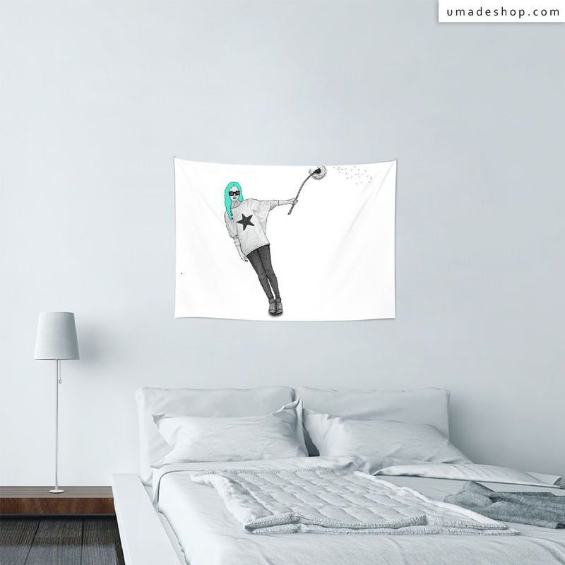 ★Wall Tapestry★ Girl with Dandelion - Barruf